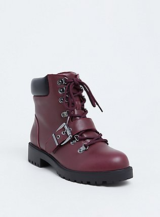 Plus Size Burgundy Purple Faux Leather Hiker Boot (WW), BURGUNDY, hi-res