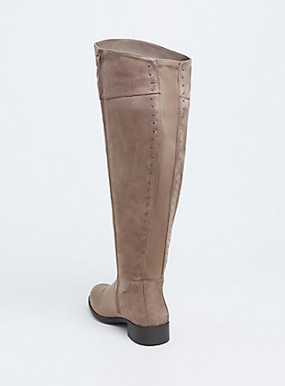 Plus Size Taupe Faux Suede Stud Back Over-the-Knee Boot (WW), TAN/BEIGE, alternate