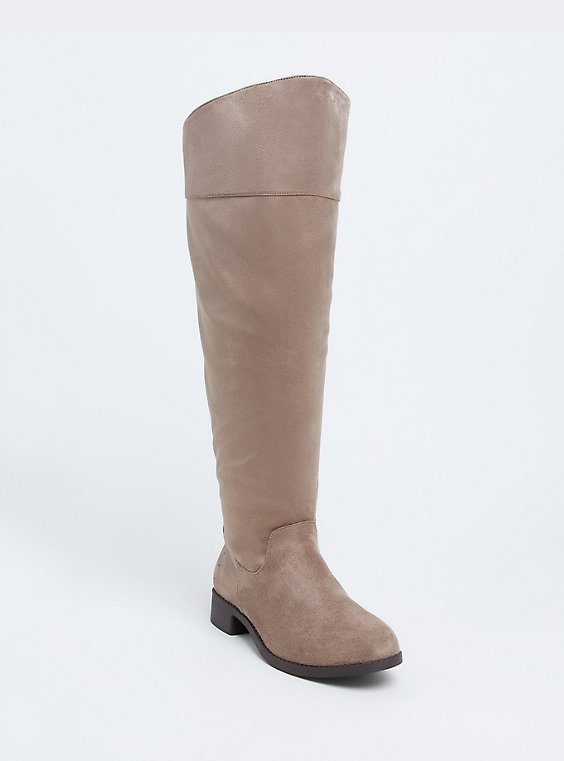 Plus Size Taupe Faux Suede Stud Back Over-the-Knee Boot (WW), , hi-res
