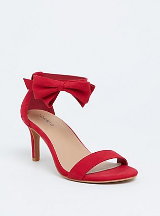 Red Faux Suede Ankle Bow Heel (Wide Width) , RED, hi-res