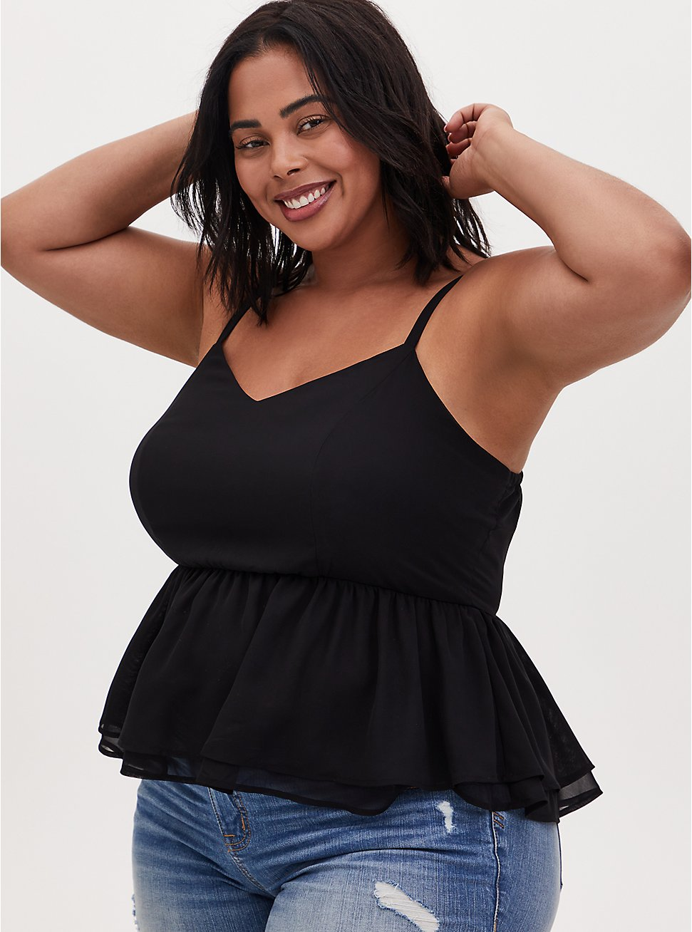 Plus Size Black Chiffon Midi Peplum Cami, DEEP BLACK, hi-res