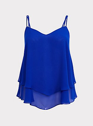 Electric Blue Georgette Layered Swing Cami, ELECTRIC BLUE, flat