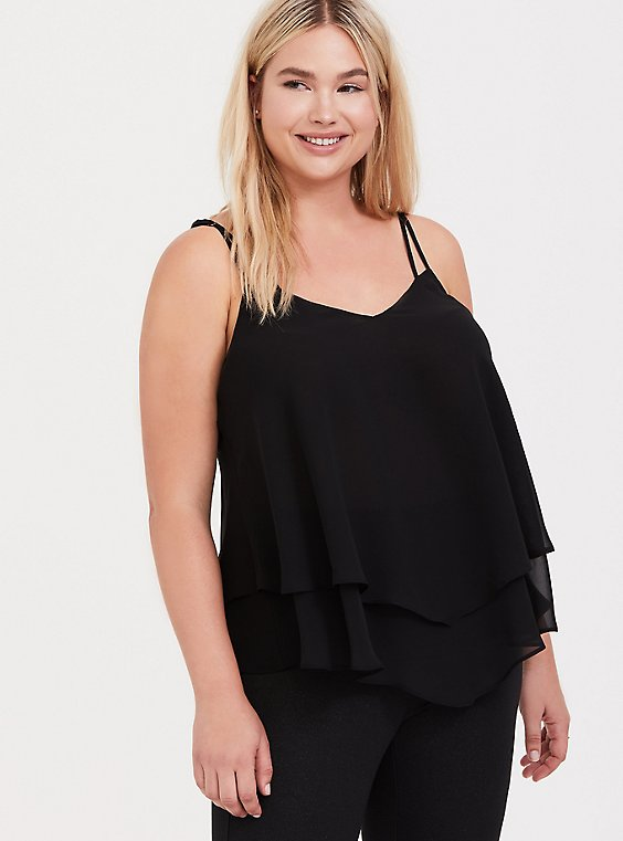Black Georgette Layered Swing Cami, , hi-res