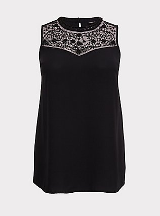 Black Georgette Embellished Mock Neck Tunic Tank, DEEP BLACK, flat