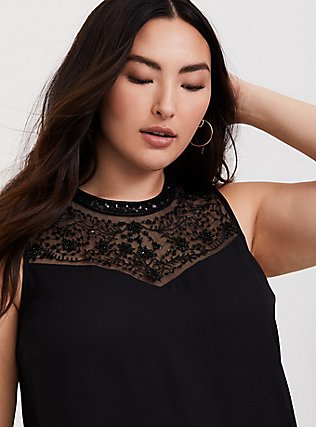 Black Georgette Embellished Mock Neck Tunic Tank, DEEP BLACK, hi-res