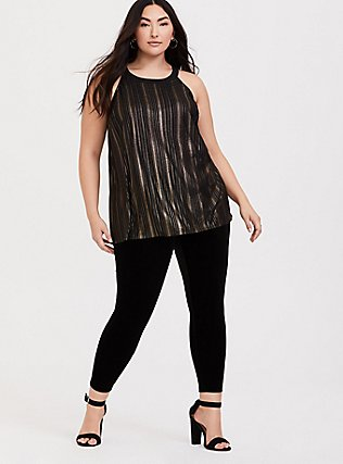 Black & Gold Stripe Goddess Tunic, DEEP BLACK, alternate
