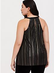 Plus Size Black & Gold Stripe Goddess Tunic, DEEP BLACK, alternate