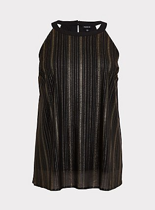 Black & Gold Stripe Goddess Tunic, DEEP BLACK, flat