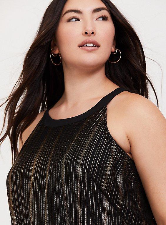Plus Size Black & Gold Stripe Goddess Tunic, , hi-res