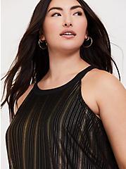 Plus Size Black & Gold Stripe Goddess Tunic, DEEP BLACK, hi-res