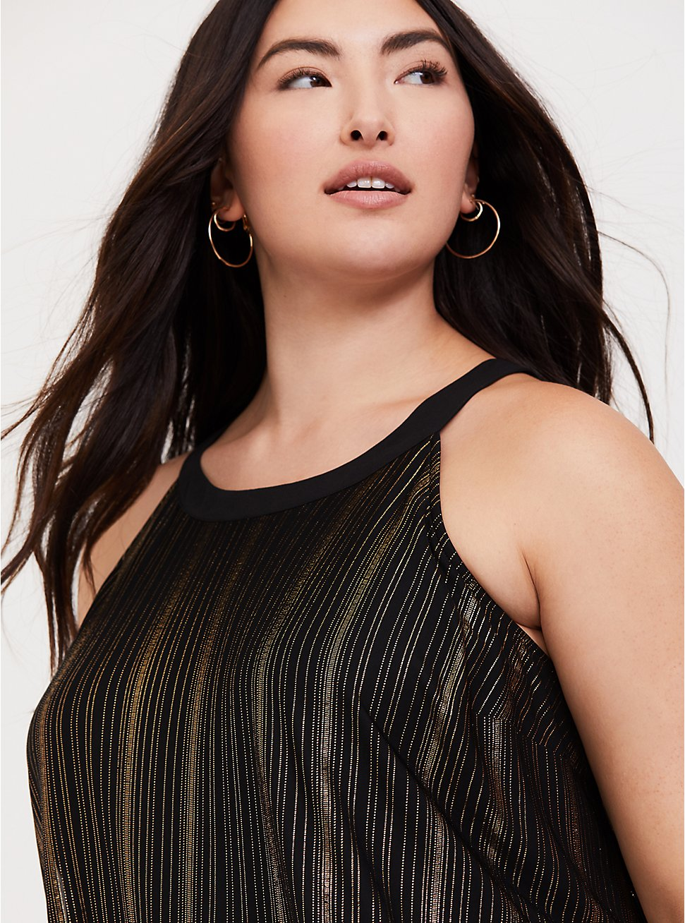 Plus Size Black & Gold Stripe Goddess Tunic, DEEP BLACK, hi-res