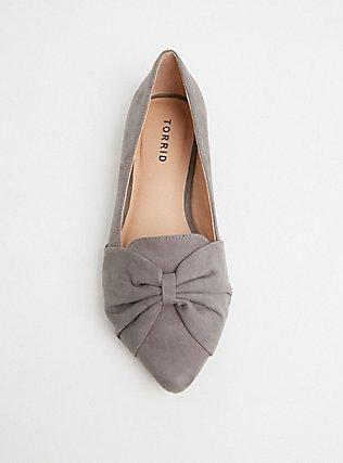 Grey Faux Suede Pointed Toe Bow Flats (WW), GREY, alternate