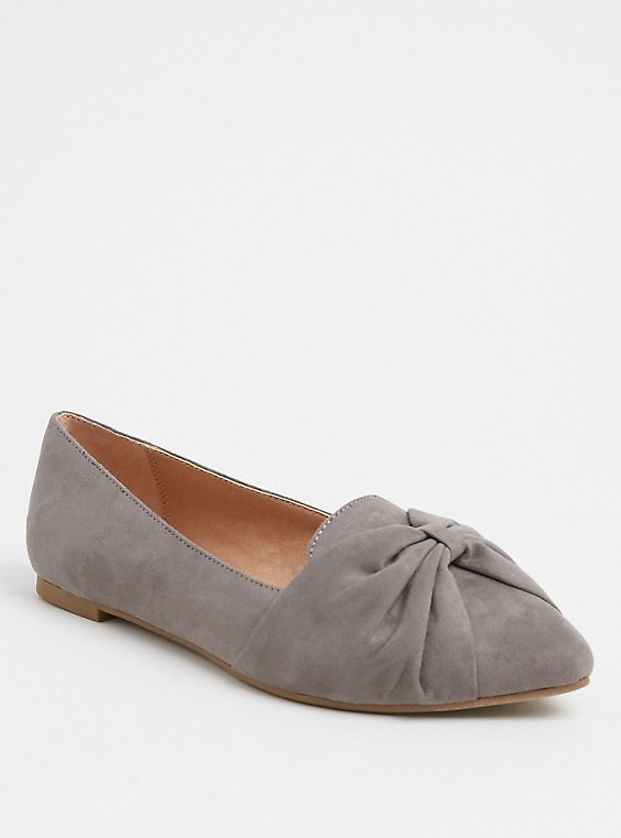 Plus Size Grey Faux Suede Pointed Toe Bow Flats (Wide Width), , hi-res