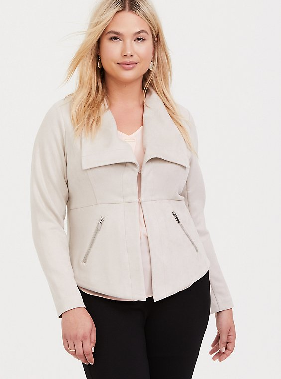 Plus Size Oyster Grey Faux Suede Jacket, , hi-res