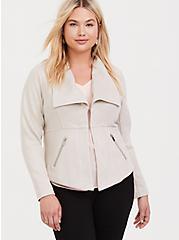 Plus Size Ivory Faux Suede Jacket, GREY, hi-res