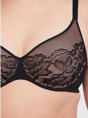 Black Lace Unlined Full Coverage Bra, RICH BLACK, alternate