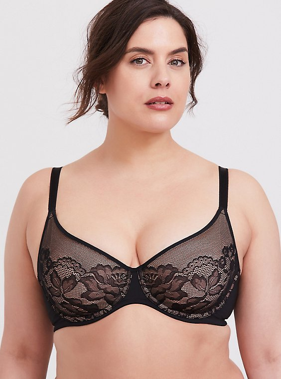 Black Lace Unlined Full Coverage Bra, , hi-res