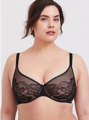 Black Lace Unlined Full Coverage Bra, RICH BLACK, hi-res