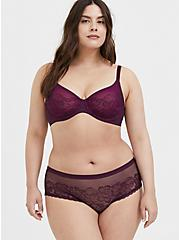 Plus Size Grape Purple Lace Unlined Full Coverage Bra, POTENT PURPLE, alternate