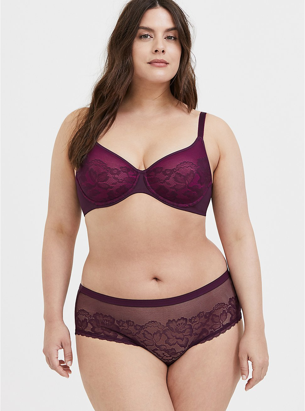 Plus Size Purple Lace Unlined Full Coverage Bra and Hipster Panty, , hi-res