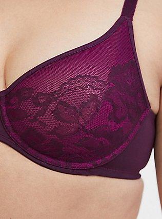 Grape Purple Lace Unlined Full Coverage Bra, POTENT PURPLE, alternate
