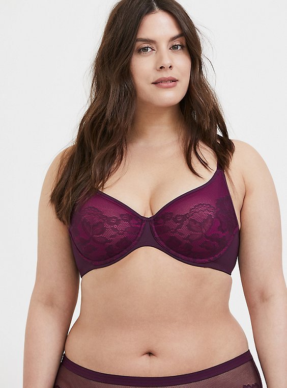 Plus Size Grape Purple Lace Unlined Full Coverage Bra, , hi-res