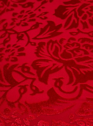 Dark Red Velvet Burnout Peplum Top, BLOOD RED, alternate