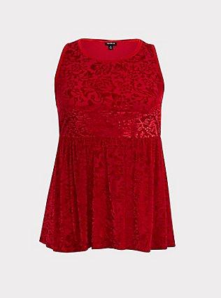 Dark Red Velvet Burnout Peplum Top, BLOOD RED, flat