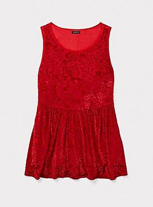 Dark Red Velvet Burnout Peplum Top, BLOOD RED, pdped