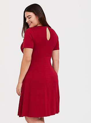 Red Sweater Knit Skater Dress, JESTER RED, alternate