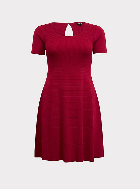 Plus Size Red Sweater Knit Skater Dress, , flat
