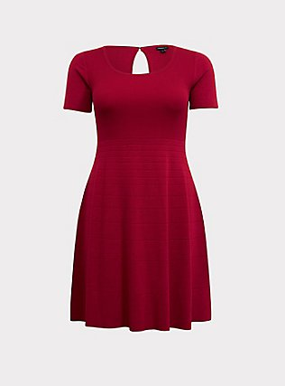 Red Sweater Knit Skater Dress, JESTER RED, flat