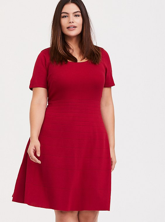Red Sweater Knit Skater Dress, , hi-res