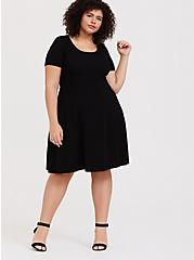 Plus Size Black Sweater-Knit Skater Dress, DEEP BLACK, alternate