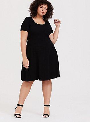 Black Sweater-Knit Skater Dress, DEEP BLACK, alternate