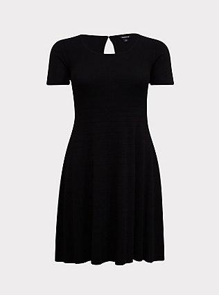 Black Sweater-Knit Skater Dress, DEEP BLACK, flat