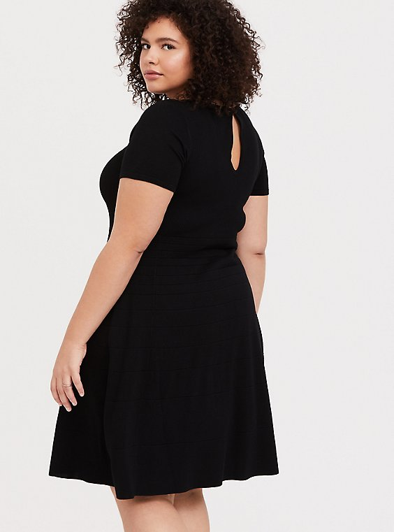 Plus Size Black Sweater-Knit Skater Dress, , hi-res