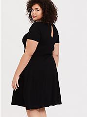 Plus Size Black Sweater-Knit Skater Dress, DEEP BLACK, hi-res