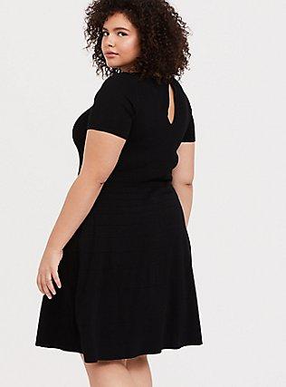 Black Sweater-Knit Skater Dress, DEEP BLACK, hi-res