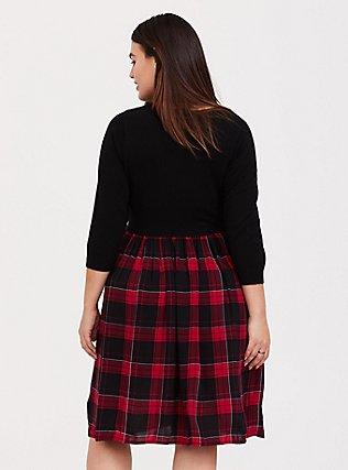 Black Sweater to Plaid Woven Challis Dress, MULTI, alternate