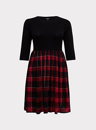 Black Sweater to Plaid Woven Challis Dress, MULTI, flat