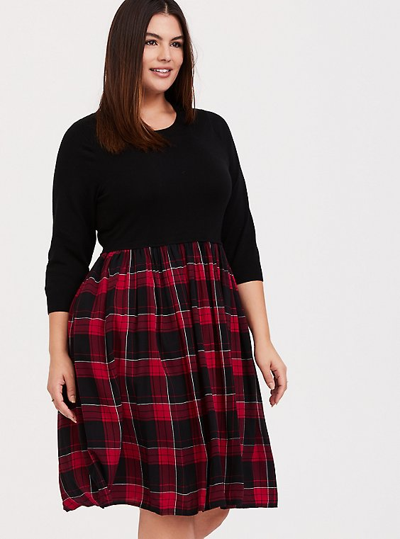 Black Sweater to Plaid Woven Challis Dress, , hi-res