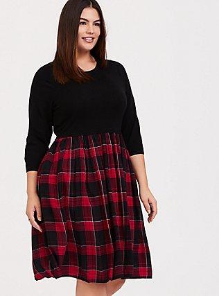 Black Sweater to Plaid Woven Challis Dress, MULTI, hi-res
