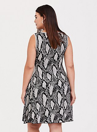 Black Snakeskin Print Sweater-knit Trapeze Dress, SNAKE - GREY, alternate