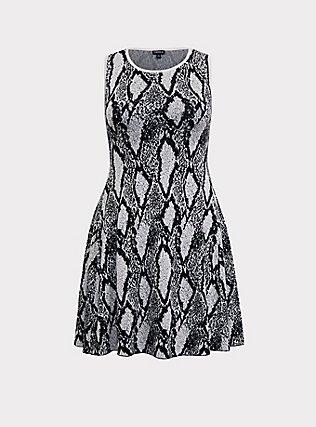 Black Snakeskin Print Sweater-knit Trapeze Dress, SNAKE - GREY, flat