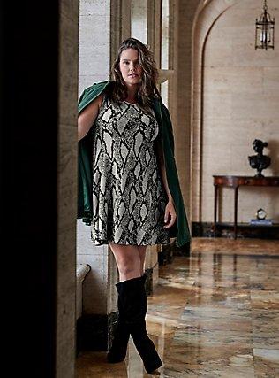 Black Snakeskin Print Sweater-knit Trapeze Dress, SNAKE - GREY, pdped
