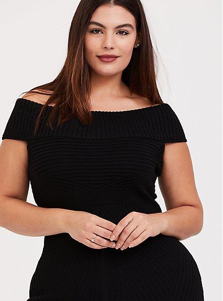 Plus Size Black Sweater Trumpet Midi Dress, DEEP BLACK, alternate