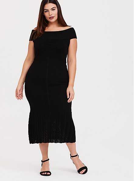 Plus Size Black Sweater Trumpet Midi Dress, DEEP BLACK, hi-res