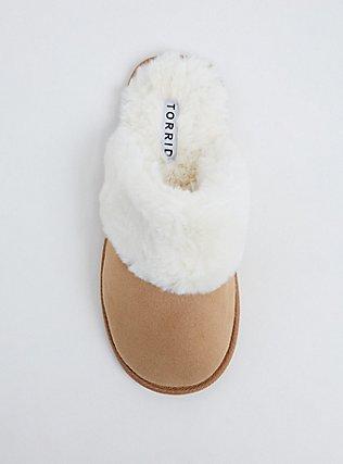 Tan Faux Suede Faux Fur Slipper (WW), BROWN, alternate