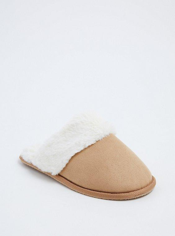 Tan Faux Suede Faux Fur Slipper (WW), , hi-res